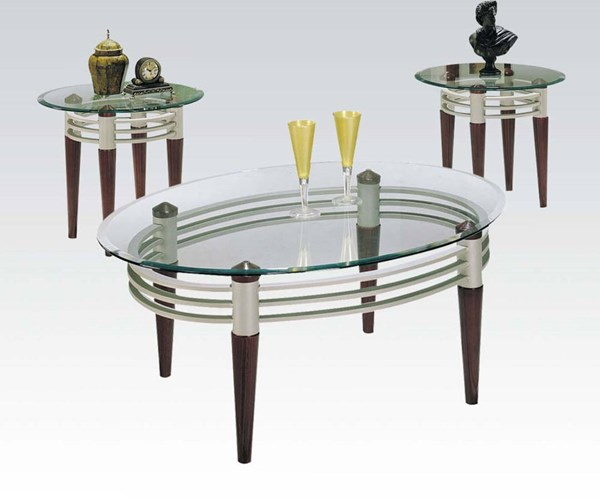 Marseille Cherry Silver Metal Glass 3pc Coffee/End Table Set ACM-08137