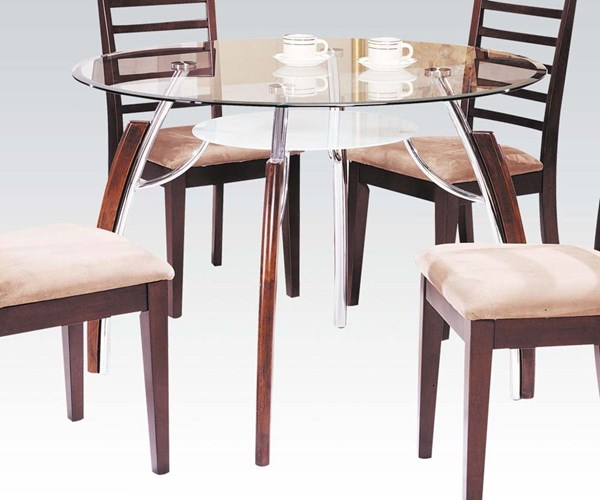 Martini Cherry Wood Metal Glass Dining Table ACM-08185