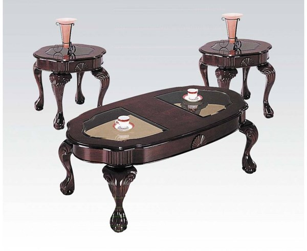 Canebury Cherry Wood Glass 3pc Pack Coffee Table Set ACM-08195