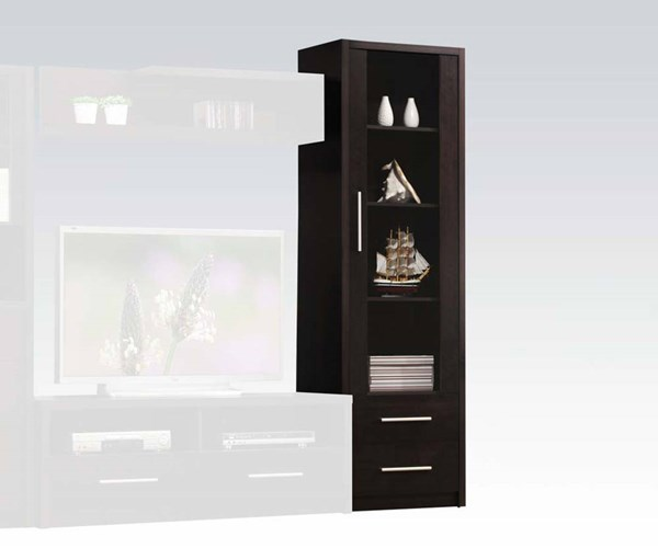 Malloy Espresso Wood Glass Door & 2 Drawers Cabinet ACM-08331