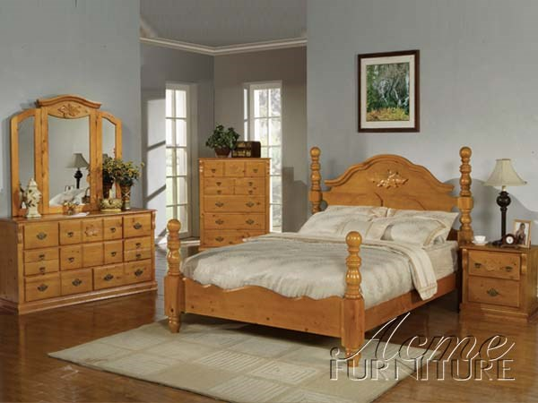 5pc Honey Oak Finish Queen Size Bedrrom Set 08390q S By
