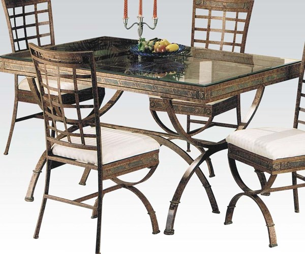 Egyptian Bronze Patina Metal Glass Dining Table ACM-08630