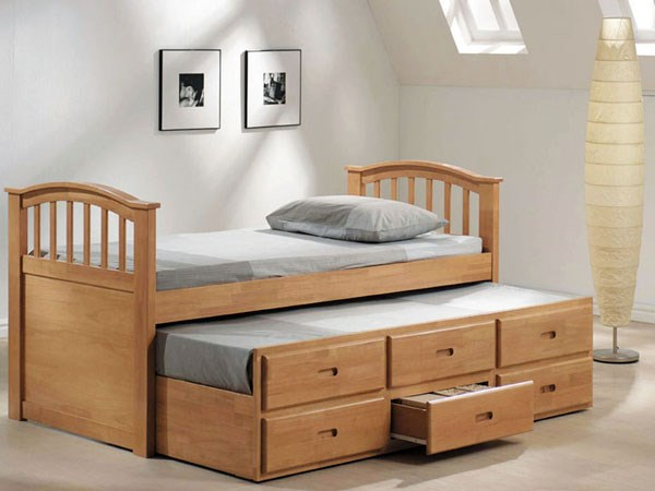 San Marino Youth Maple Wood Twin Captain Bed & Trundle W/3 Drawers ACM-08935