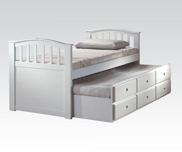 San Marino Youth White Wood Twin Captain Bed & Trundle W/3 Drawers ACM-09145