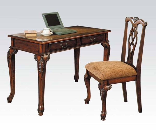 Aristocrate Dark Brown Cherry Wood 2pc Writing Desk & Side Chair ACM-09650