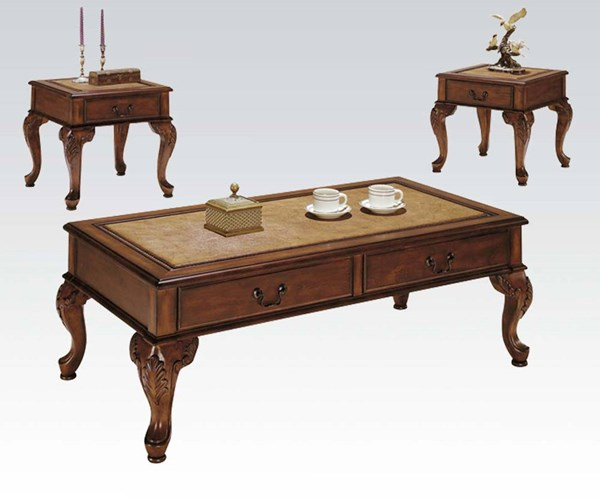 Trudeau Cherry Wood 3pc Pack Coffee/End Table Set ACM-09652