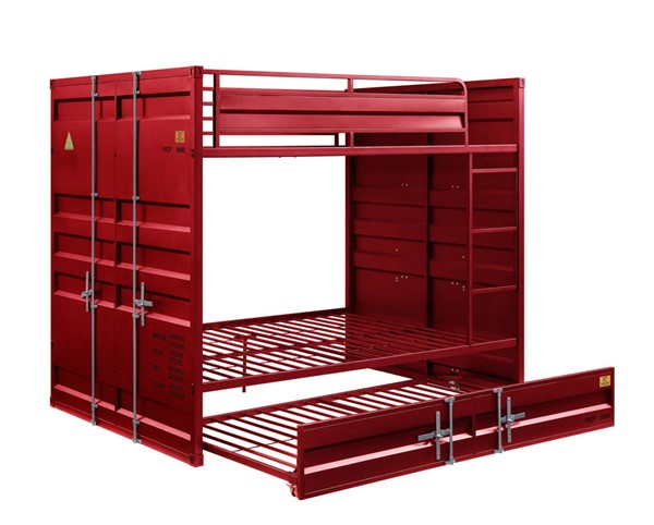 Acme Furniture Cargo Red Metal Full over Full Trundle Bunk Bed ACM-3791-FFT-BB