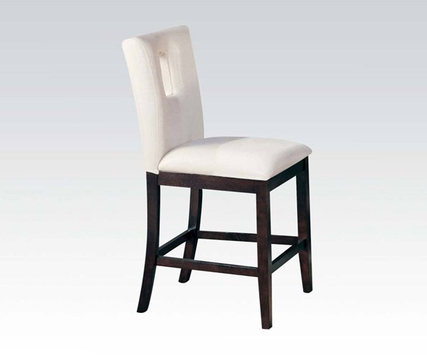 2 Britney Transitional White Walnut PU Wood Counter Height Chairs ACM-10034