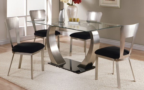 Camille Satin Black Fabric Metal Glass 5pc Dining Room Set ACM-10090-93-DR-S