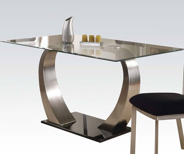 Camille Casual Satin Black Glass Metal Dining Table ACM-10090