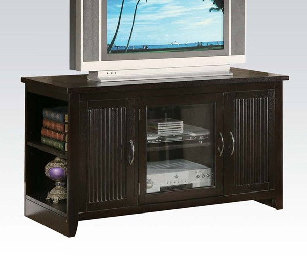 Redfield Espresso Wood Glass Folding TV Stand ACM-10120