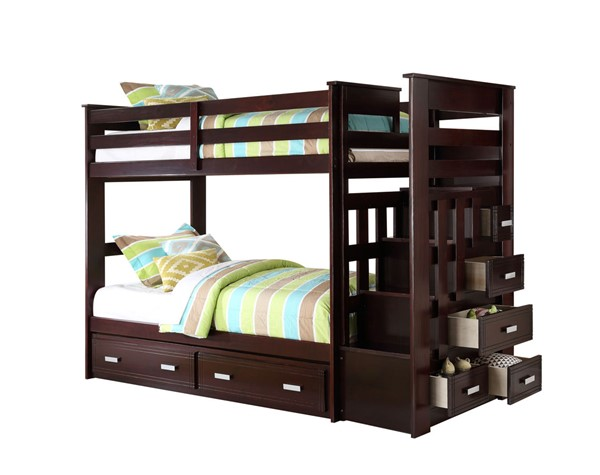 Acme Furniture Allentown Espresso Twin over Twin Storage Ladder and Trundle Bunk Bed ACM-10170