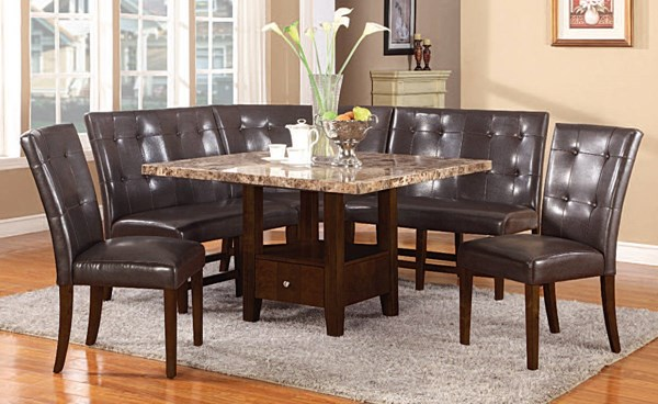 Granada Casual Brown Walnut Wood Marble Dining Room Set ACM-10286-DR
