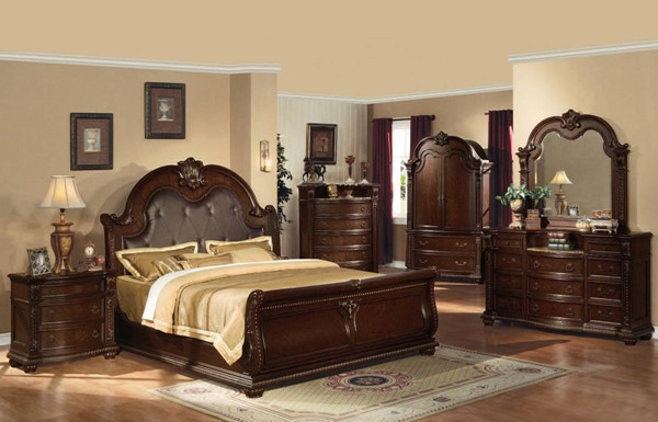 Anondale Traditional Cherry Wood Bedroom Set ACM-10307EK-SET