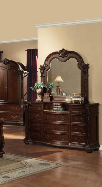 Anondale Traditional Cherry Wood Dresser W/Marble Top ACM-10315