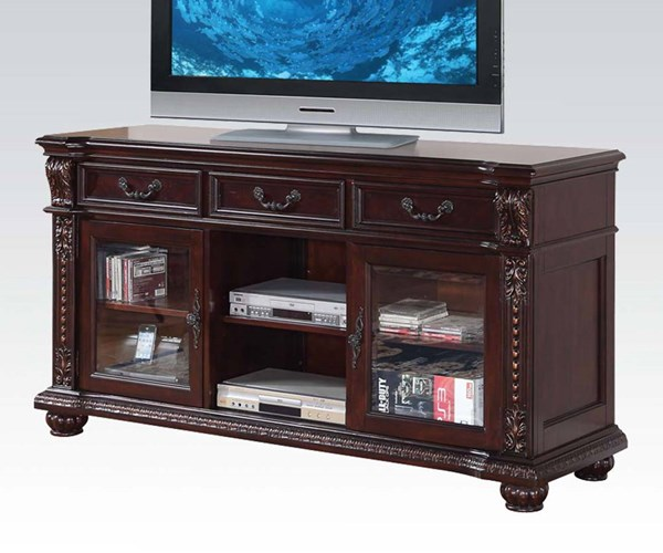 Anondale Traditional Cherry Wood Glass TV Stand ACM-10321