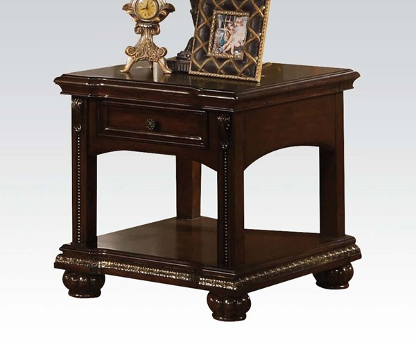 Anondale Traditional Brown Cherry Wood Square End Table ACM-10323