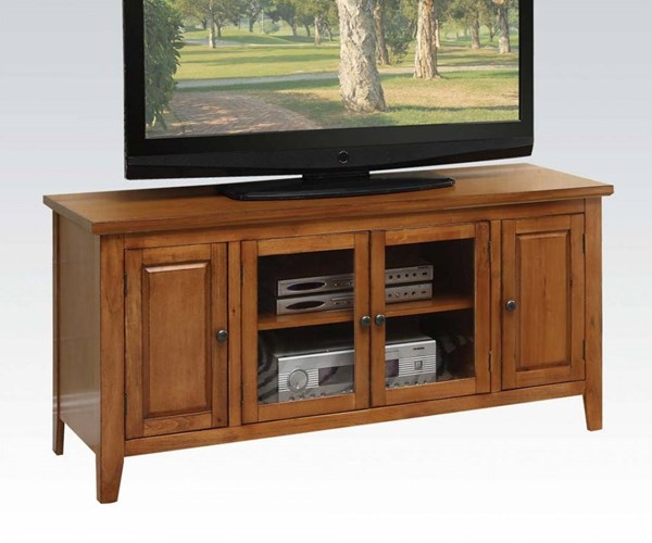 Christella Oak Wood Glass Doors TV Stand ACM-10342