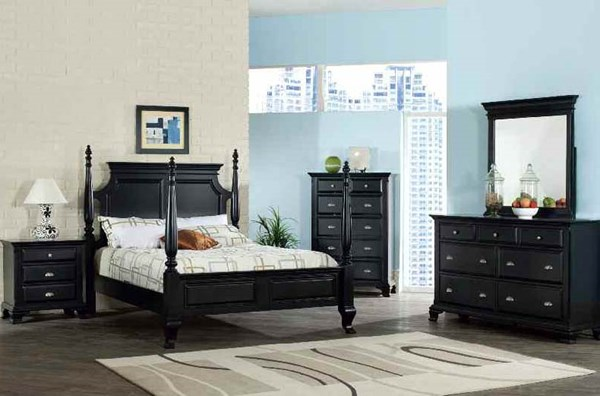 Canterbury Traditional Black Wood 5pc Bedroom Set W/King Bed ACM-10427EK-S1