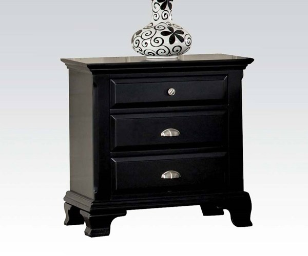 Canterbury traditional black wood nightstand the classy home for Black wood nightstand