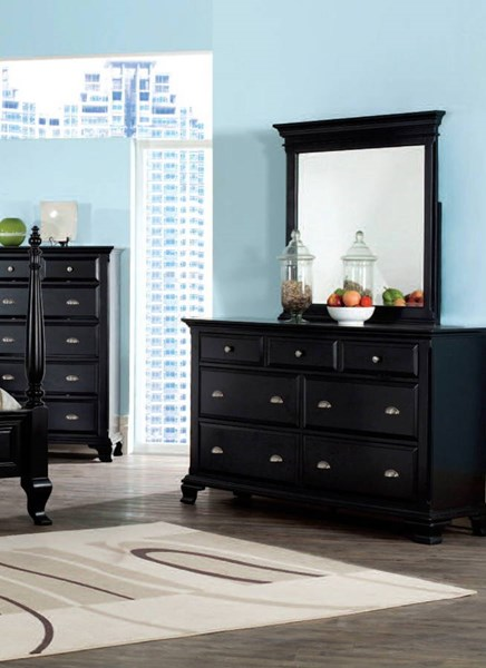 Canterbury Traditional Black Wood Glass Dresser And Mirror ACM-10434-5DM