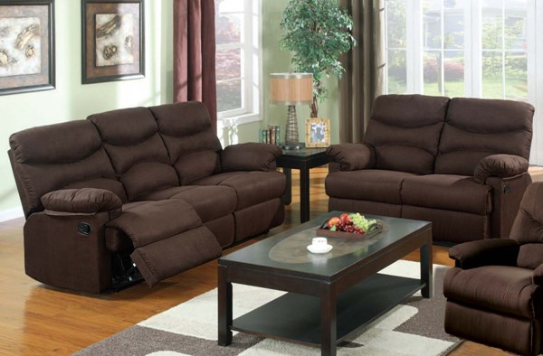 Arcadia microfiber chocolate living room set the classy - Microfiber living room furniture sets ...