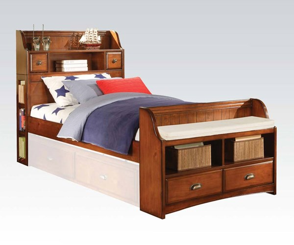 Brandon Traditional Antique Oak Wood Full Bed W/Drawers ACM-11005F