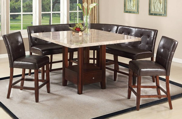 Britney Casual Espresso Walnut Wood Square Tufted Back Dining Room Set ACM-11280-DR