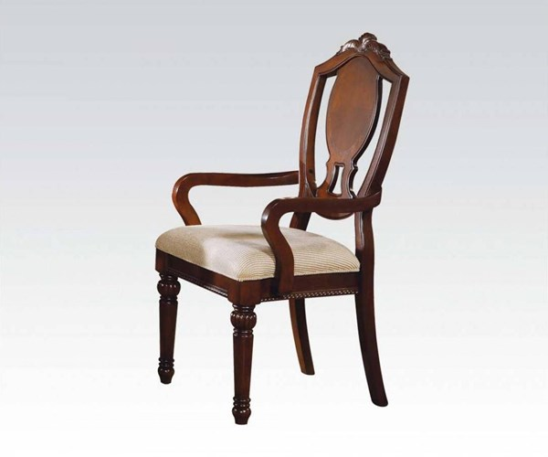 2 Classique Traditional Cherry Wood Arm Chairs ACM-11834A