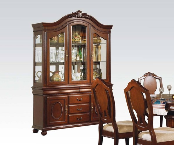 Classique Traditional Cherry Wood Glass Hutch & Buffet ACM-11835