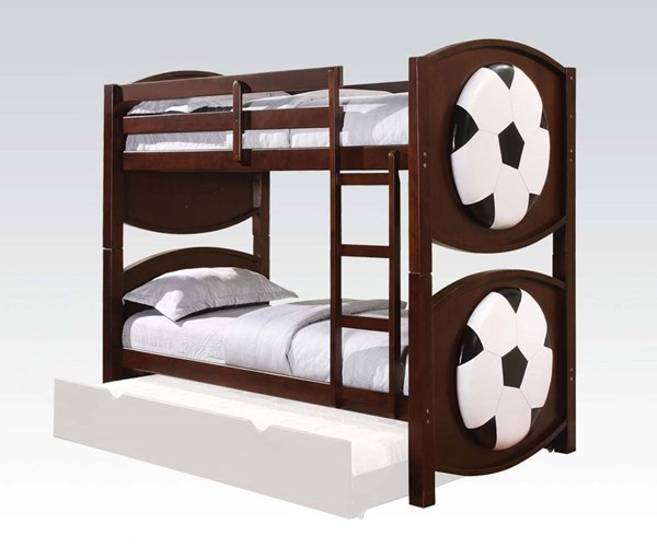 All Star Soccer Youth Espresso Wood Twin/Twin Bunk Bed ACM-11954