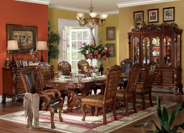Dresden Traditional Cherry Oak Wood Fabric 9pc Dining Room Set ACM-12150-S