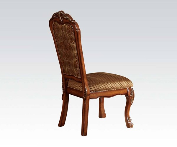 2 Dresden Traditional Cherry Oak Wood Fabric Side Chairs ACM-12153