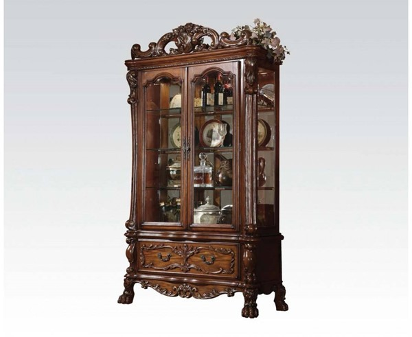 Dresden Traditional Cherry Oak Wood Glass Curio Cabinet ACM-12158