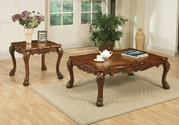 Dresden Chocolate Chenille Wood Coffee/End Table Set ACM-12165-Set