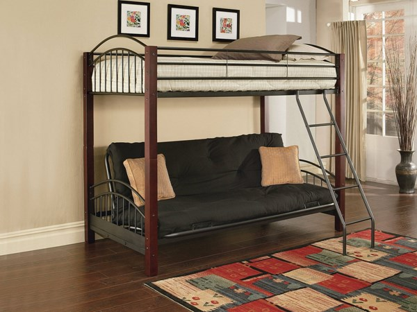 Jenell Cherry Black Wood Metal Twin/Full Convertible Futon Bunk Bed ACM-12776