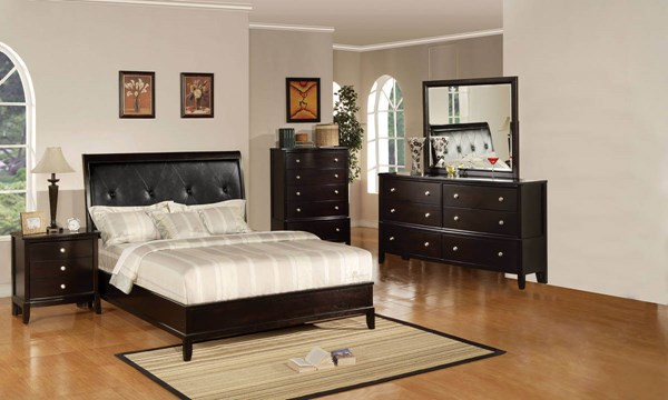Oxford Black Espreso Wood MDF 5pc Bedroom Set W/Panel Beds ACM-14300-BR-S