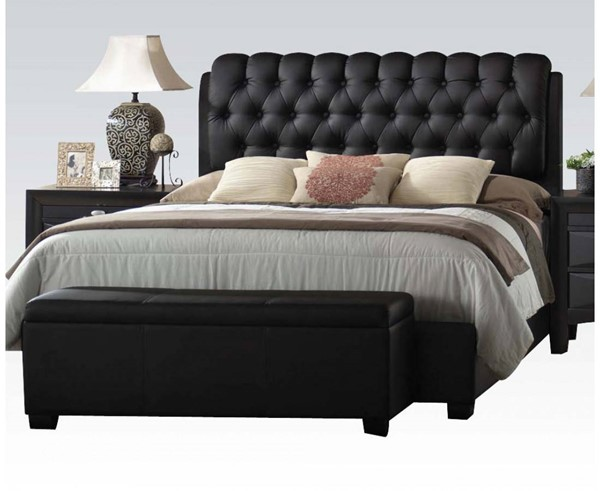 Ireland Contemporary Wood PU Tufted Panel Beds ACM-14440-BED-VAR1