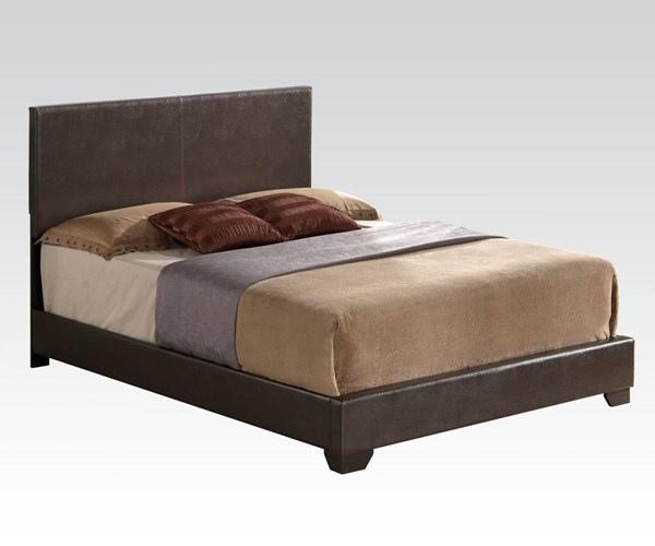Ireland Brown PU Wood Queen Platform Bed ACM-14370Q