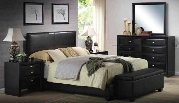 Ireland Transitional Espresso Black White Wood PU Master Bedroom Set ACM-14440-Set