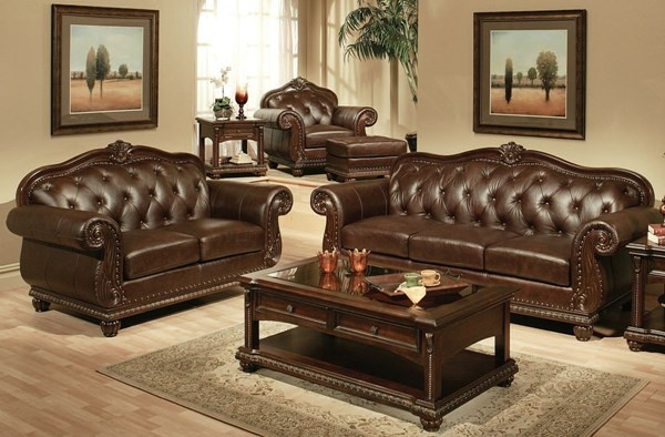 Anondale Traditional Brown Leather Wood 3pc Living Room Set ACM-15030-S