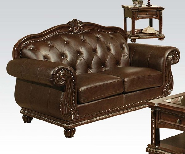 Anondale Traditional Brown Leather Wood Tufted Back Loveseat ACM-15031