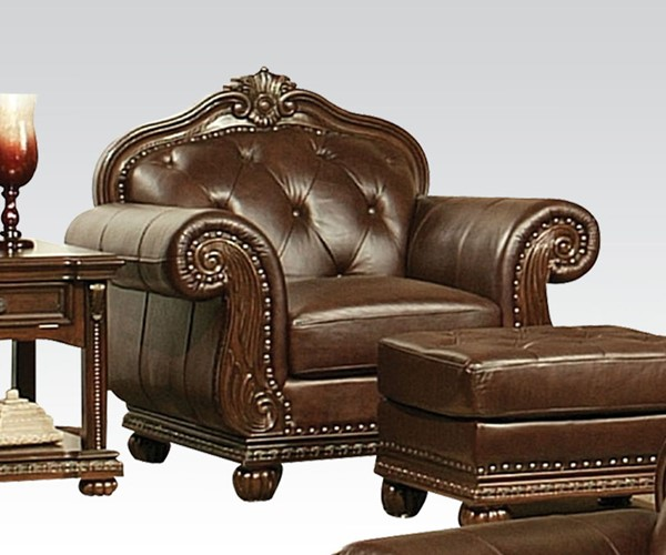 Anondale Traditional Brown Leather Wood Tufted Back Chair ACM-15032