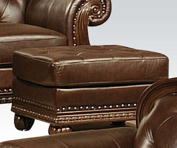 Anondale Traditional Brown Leather Wood Ottoman ACM-15034