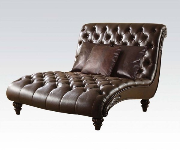 Anondale Traditional Brown PU Wood Tufted Back Chaise W/3Pillows ACM-15035