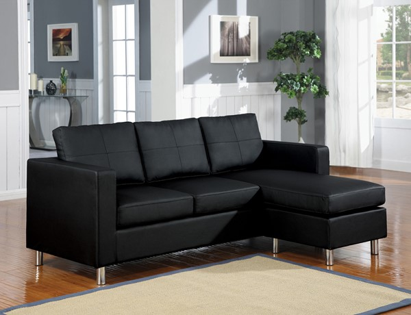 Acme Furniture Kemen Black Reversible Chaise Sectional ACM-15065