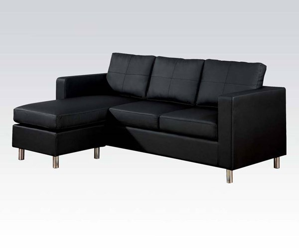 Kemen Bycast PU Black Reversible Chaise Sectional ACM-15065