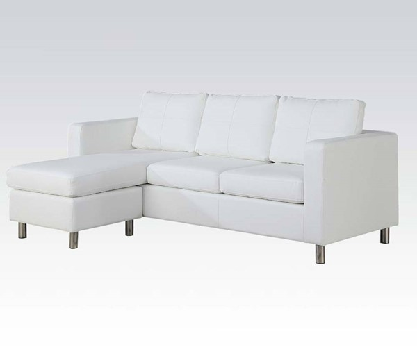 Kemen Bycast PU White Reversible Chaise Sectional ACM-15068