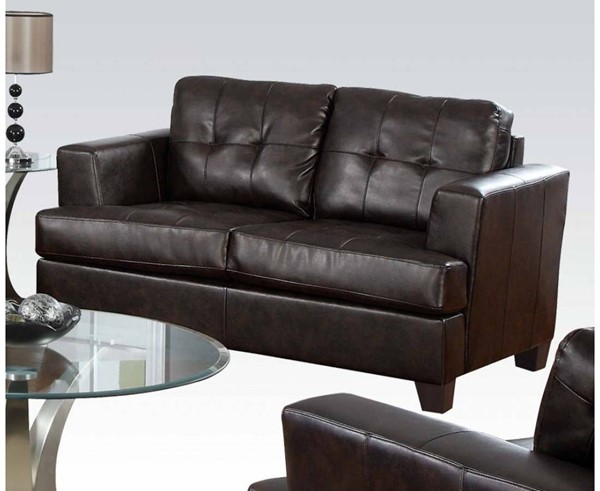 Platinum Contemporary Brown Bonded Leather Wood Loveseat ACM-15071