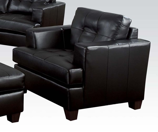 Platinum Contemporary Black Bonded Leather Wood Tufted Back Chair ACM-15092B